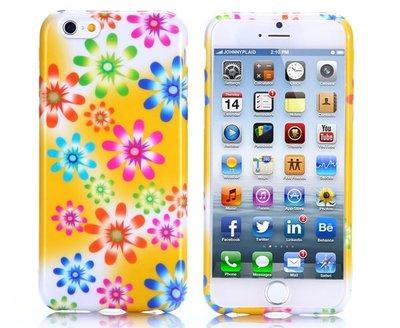 Apple iPhone 6 Plus / iPhone 6S Plus hoesje, gel case met print, geel met bloemen