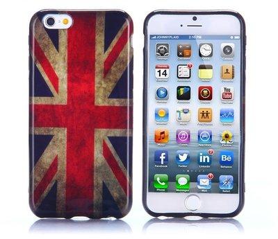 Apple iPhone 6 Plus / iPhone 6S Plus hoesje, gel case met print, vlag UK