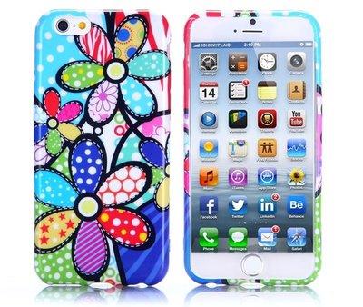 Apple iPhone 6 Plus / iPhone 6S Plus hoesje, gel case met print, gekleurde bloemen