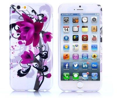 Apple iPhone 6 Plus / iPhone 6S Plus hoesje, gel case met print, paarse bloem