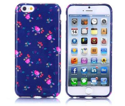 Apple iPhone 6 Plus / iPhone 6S Plus hoesje, gel case met print, paars met roze bloemen
