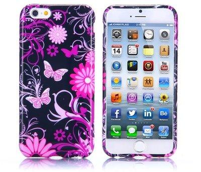 Apple iPhone 6 Plus / iPhone 6S Plus hoesje, gel case met print, vlinders en bloemen