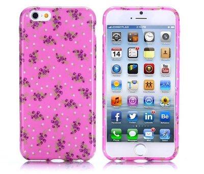 Apple iPhone 6 Plus / iPhone 6S Plus hoesje, gel case met print, roze met bloemen