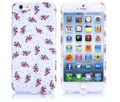 Apple iPhone 6 Plus / iPhone 6S Plus hoesje, gel case met print, wit met paarse bloemen