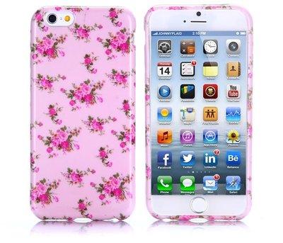 Apple iPhone 6 Plus / iPhone 6S Plus hoesje, gel case met print, roze met rozen