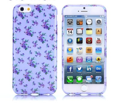 Apple iPhone 6 Plus / iPhone 6S Plus hoesje, gel case met print, paars met bloemen