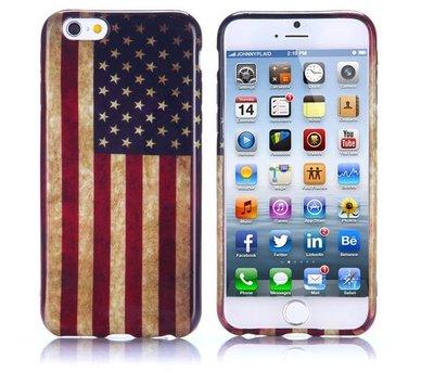 Apple iPhone 6 Plus / iPhone 6S Plus hoesje, gel case met print, vlag USA