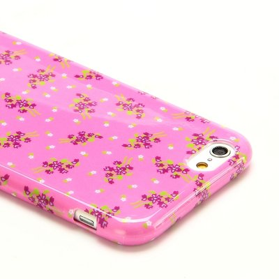 Apple iPhone 6 / iPhone 6S hoesje, gel case met print, roze bloemen