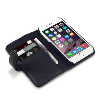 Apple iPhone 6 / iPhone 6S hoesje, echt lederen 3-in-1 bookcase, zwart