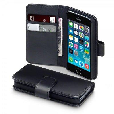 Apple iPhone 5 / iPhone 5S / iPhone SE hoesje, echt lederen 3-in-1 bookcase, zwart