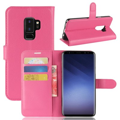 Samsung Galaxy S9 Plus (S9+) hoesje, 3-in-1 bookcase, donker roze