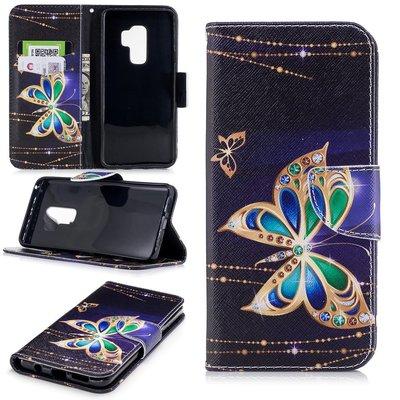 Samsung Galaxy S9 Plus (S9+) hoesje, 3-in-1 bookcase met print, gouden vlinder