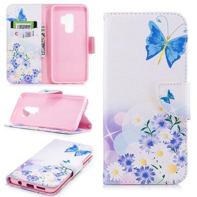Samsung Galaxy S9 Plus (S9+) hoesje, 3-in-1 bookcase met print, vlinder en bloemen