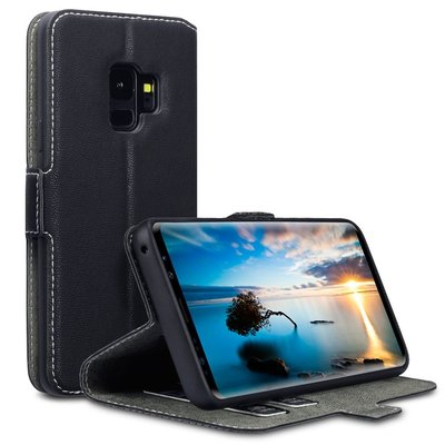 Samsung Galaxy S9 Plus (S9+) hoesje, MobyDefend slim-fit extra dunne bookcase, Zwart