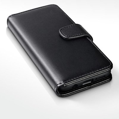 Samsung Galaxy S9 Plus (S9+) hoesje, echt lederen 3-in-1 bookcase, zwart