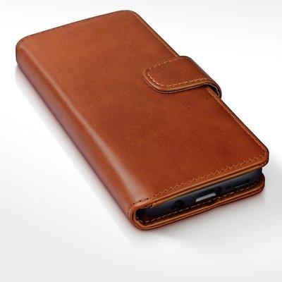 Samsung Galaxy S9 Plus (S9+) hoesje, echt lederen 3-in-1 bookcase, cognac bruin
