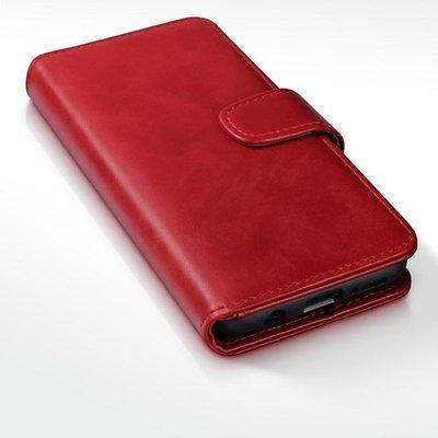 Samsung Galaxy S9 Plus (S9+) hoesje, echt lederen 3-in-1 bookcase, rood