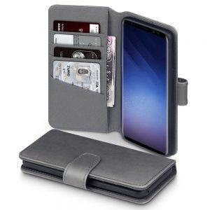 Samsung Galaxy S9 hoesje, echt lederen 3-in-1 bookcase, grijs