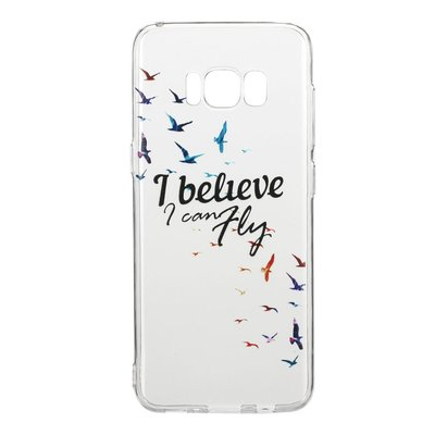 Samsung Galaxy S8 hoesje, gel case doorzichtig met print, i believe i can fly