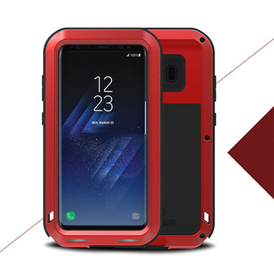 Samsung Galaxy S8 hoes, Love Mei metalen extreme protection case, zwart-rood