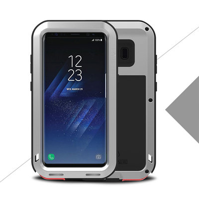 Samsung Galaxy S8 hoes, Love Mei metalen extreme protection case, zwart-grijs