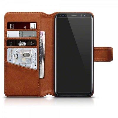 Samsung Galaxy S8 hoesje, echt lederen 3-in-1 bookcase, cognac bruin