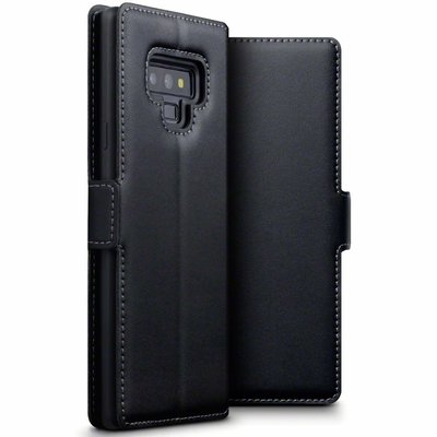 Samsung Galaxy Note 9 hoesje, echt lederen 3-in-1 bookcase, zwart