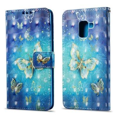 Samsung Galaxy A8 (2018) hoesje, 3-in-1 bookcase met print, gouden vlinders