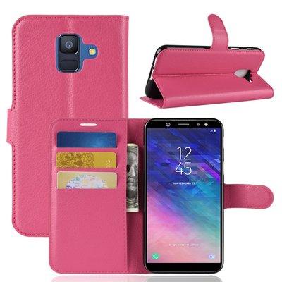 Samsung Galaxy A6+ (2018) / A6 Plus (2018) hoesje, 3-in-1 bookcase, donker roze