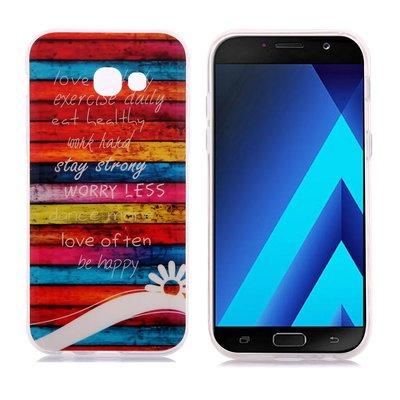 Samsung Galaxy A3 (2017) hoesje, gel case met print, tekst met gekleurde achtergrond