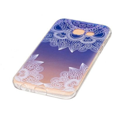 Samsung Galaxy A3 (2017) hoesje, gel case doorzichtig met print, blauw patroon