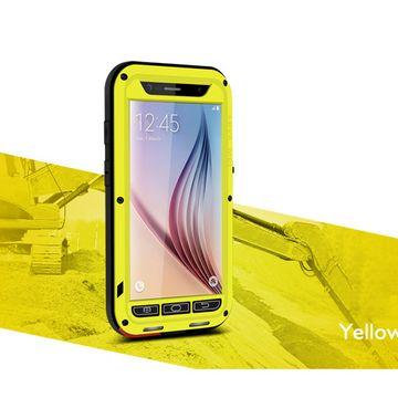 Samsung Galaxy S6 hoes, Love Mei metalen case, zwart-geel