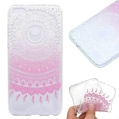 Huawei P Smart hoesje, gel case doorzichtig met print, wit-roze patroon