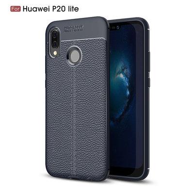Huawei P20 Lite hoesje, gel case leder look, navy blauw
