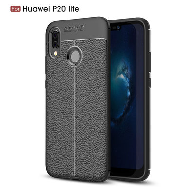 Huawei P20 Lite hoesje, gel case leder look, zwart