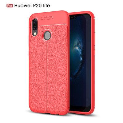Huawei P20 Lite hoesje, gel case leder look, rood