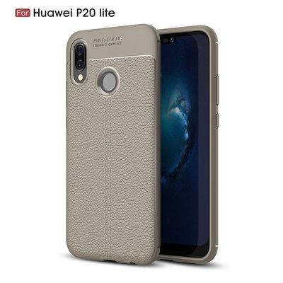 Huawei P20 Lite hoesje, gel case leder look, grijs