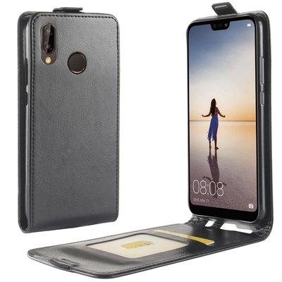 Huawei P20 Lite hoesje, flipcase, zwart