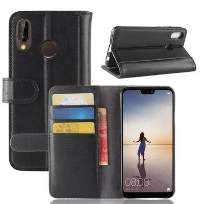 Huawei P20 Lite hoesje, 3-in-1 luxe bookcase, zwart
