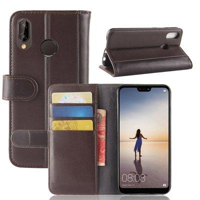 Huawei P20 Lite hoesje, 3-in-1 luxe bookcase, bruin