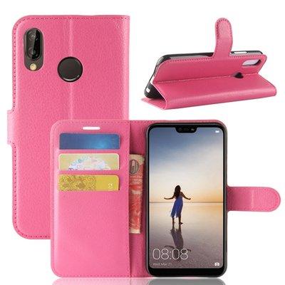 Huawei P20 Lite hoesje, 3-in-1 bookcase, donker roze