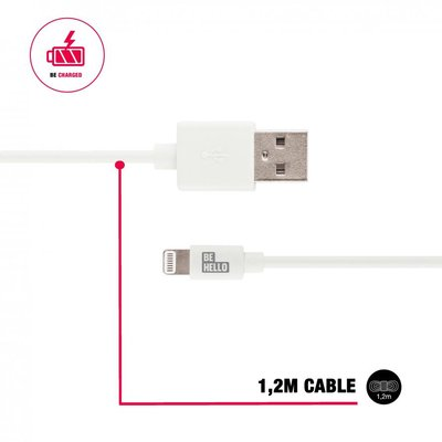 BeHello Apple lightning oplaadkabel (1,2 meter) 2.1A, wit, voor iPhone / iPad