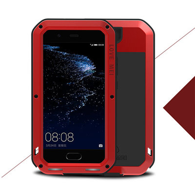 Huawei P10 hoes, Love Mei, metalen extreme protection case, zwart-rood