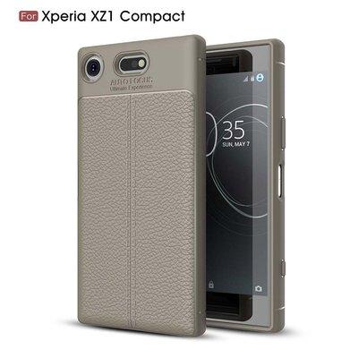 Sony Xperia XZ1 Compact hoesje, gel case leder look, grijs