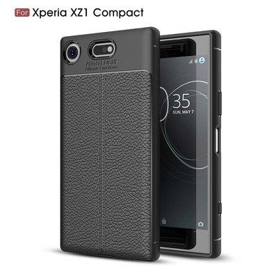 Sony Xperia XZ1 Compact hoesje, gel case leder look, zwart