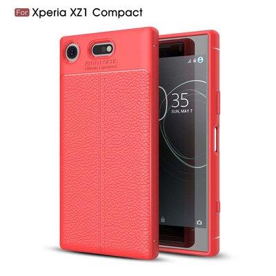 Sony Xperia XZ1 Compact hoesje, gel case leder look, rood