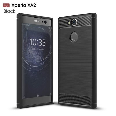 Sony Xperia XA2 hoesje, gel case carbon look, zwart