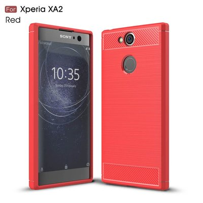 Sony Xperia XA2 hoesje, gel case carbon look, rood