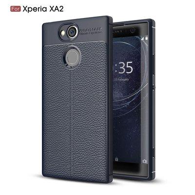 Sony Xperia XA2 hoesje, gel case leder look, navy blauw
