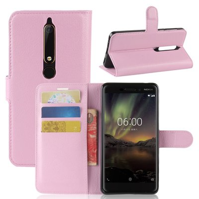 Nokia 6.1 (2018) hoesje, 3-in-1 bookcase, licht roze